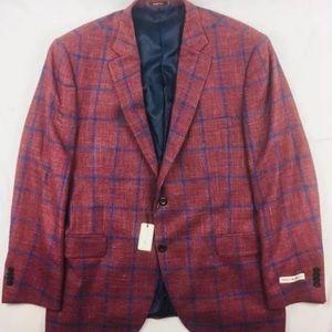 NWT Maroon Blue Checked Wool Silk Linen 44R Blazer